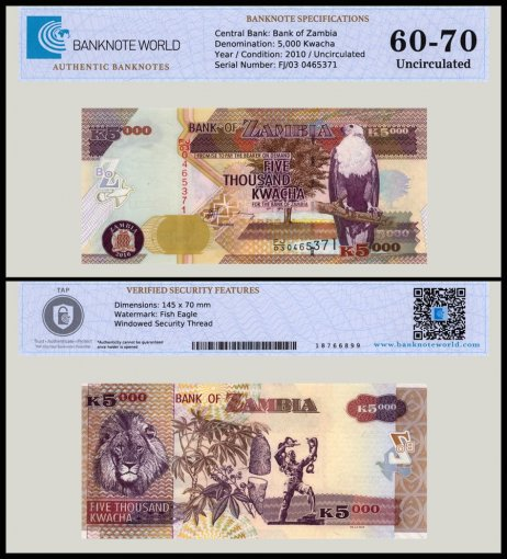 Zambia 5,000 Kwacha Banknote, 2010, P-45f, UNC, TAP 60 - 70 Authenticated