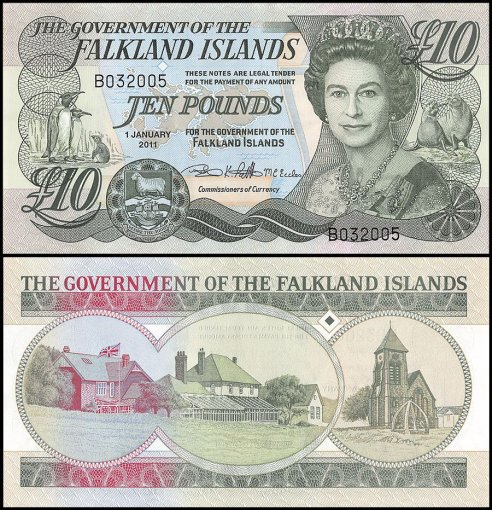 Falkland Islands 10 Pounds Banknote, 2011, P-18, UNC