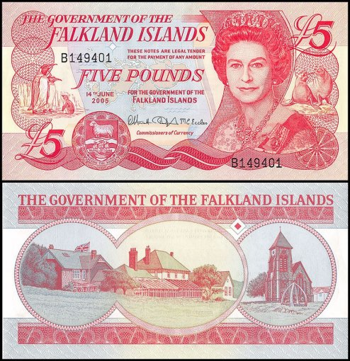 Falkland Islands 5 Pounds Banknote, 2005, P-17a, UNC