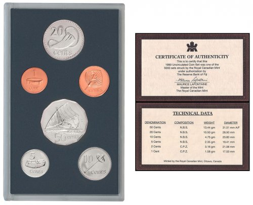 Fiji 1 Cent - 50 Cents 6 Pieces Coin Set, 1990, KM #49a-54a, In Acrylic Holder w/COA, Mint