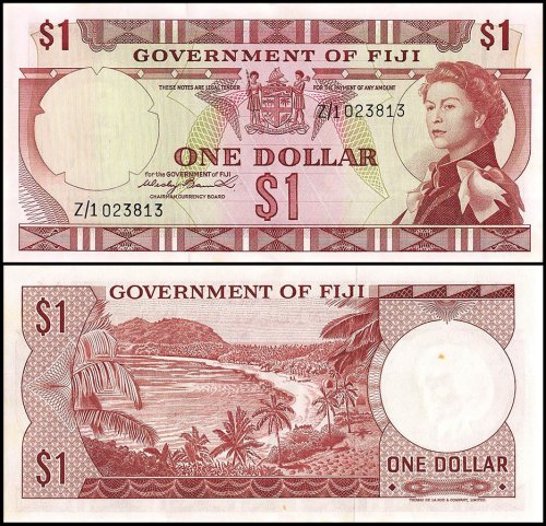 Fiji 1 Dollar Banknote, 1971, P-65a, UNC, Replacement, Queen Elizabeth, Signature Wesley Barret