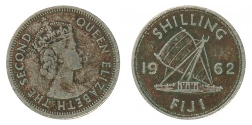 Fiji 1 Shilling 5.6 g Copper Nickel Coin, 1962, KM #23, F - Fine