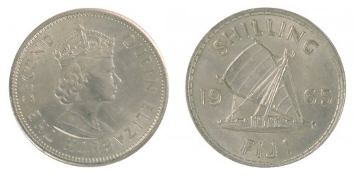 Fiji 1 Shilling 5.6 g Copper Nickel Coin, 1965, KM #23, MS - Mint