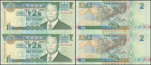 Fiji 2 Dollars, 2000, P-102a, UNC, 2 Piece Uncut Sheet