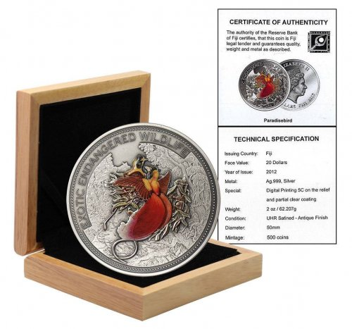 Fiji 20 Dollars 2oz Silver Coin, 2012, Exotic Endangered Wildlife, Paradise Bird, Queen Elizabeth II