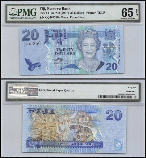 Fiji 20 Dollars, ND 2007, P-112a, Queen Elizabeth II, PMG 65