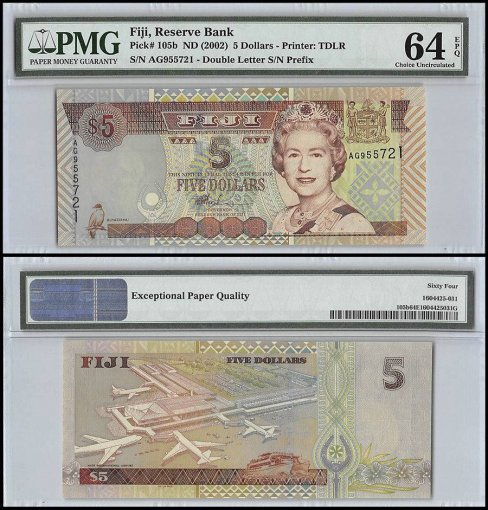 Fiji $5 Dollars, ND 2002, P-105b, Queen Elizabeth II, PMG 64