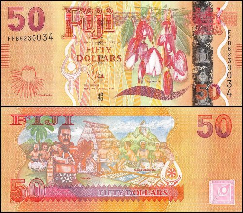 Fiji 50 Dollars Banknote, 2013, P-118a, UNC, Tagimoucia Flower