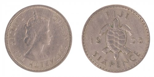 Fiji 6 Pence 2.82 g Silver Coin, 1953, KM #19,  XF - Extremely FIne