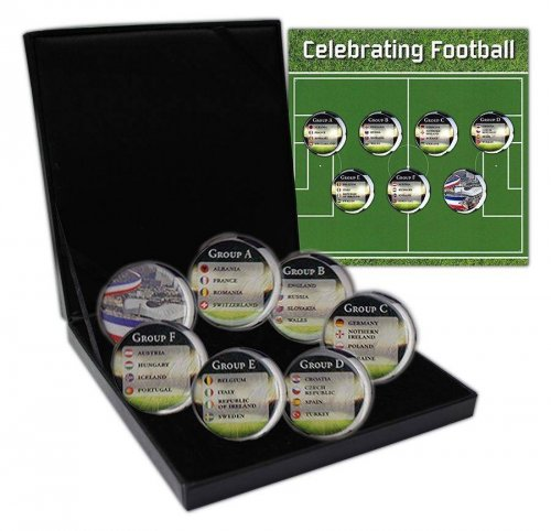 France 20 Centimes 4g Aluminum Bronze, 7 Piece Coin Set, 1962-2001, Football