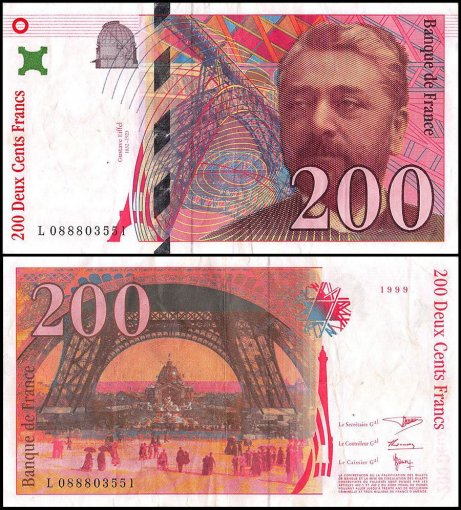 France 200 Francs Banknote, 1999, P-159c, Used