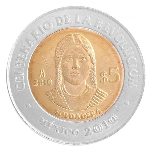 Mexico 5 Pesos, 2010, KM # 928, Mint,Centenary of Revolution Coin - La Soldadera