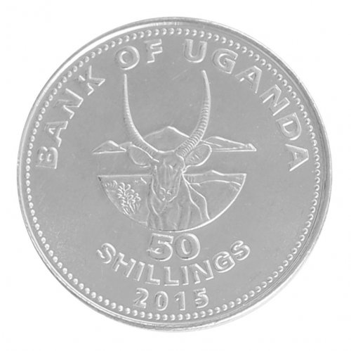 Uganda 50 Shillings 4g Nickel Plated Coin, 2015, KM # 66, Mint, Animals, Antelope
