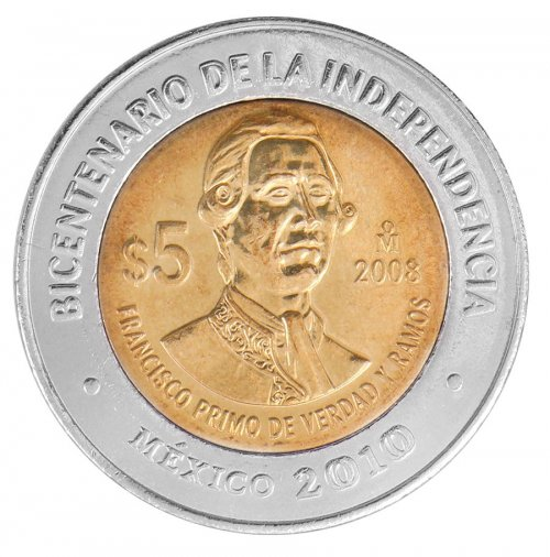 Mexico 5 Pesos Coin, 2008, KM # 900, Mint