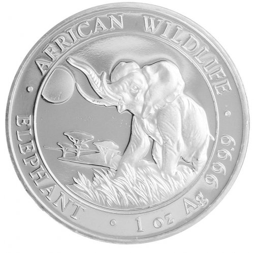 Somalia 100 Shillings, 31 g Silver Coin, 2016, Mint, African Wildlife Elephant