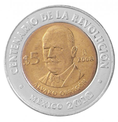 Mexico 5 Pesos Coin, 2008, KM # 895, Mint, Centenary Revolution, Alvaro Obregon