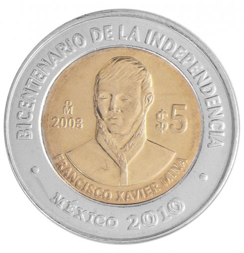Mexico 5 Pesos, 2008, KM # 898, Mint, Bicentenary Coin - Francisco Xavier Mina