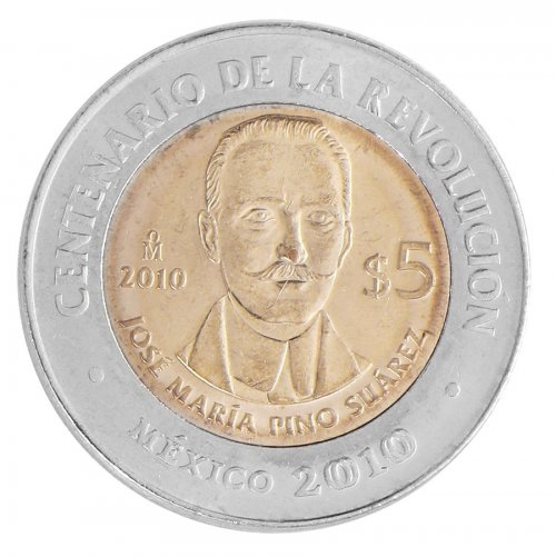 Mexico 5 Pesos Coin, 2010, KM # 930, Mint, Centenary Revolution, Jose Maria Suarez