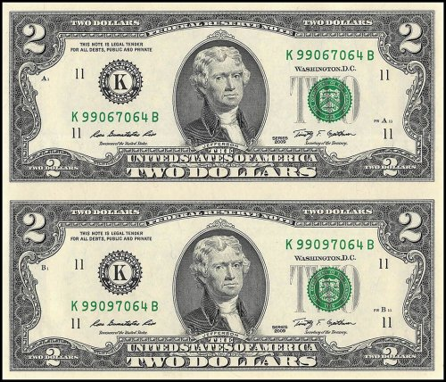 Unites States of America - USA 2 Dollars, Limited Edition Banknote Folder, 2 Pieces Uncut Sheet, 2009, P-530A, UNC