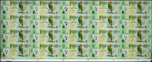 Fiji 5 Dollars Banknote, 2013, P-115a, 20 Pieces Uncut Sheet, UNC