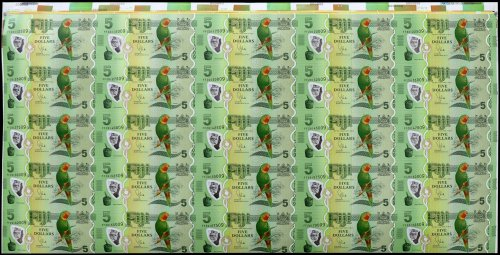 Fiji 5 Dollars Banknote, 2013, P-115a, 25 Pieces Uncut Sheet, UNC