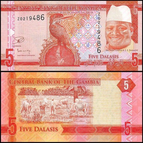 Gambia 5 Dalasis Banknote, 2015, P-31, UNC, Replacement