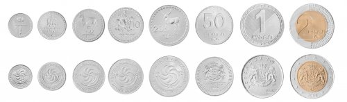 Georgia 1 Tetri -2 Lari, 8 Piece Full Coin Set, 1993-2006, Mint, Independent Star