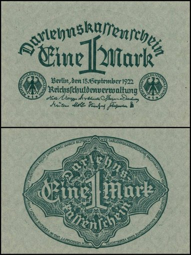 Germany 1 Mark Banknote, 1922, P-61a, UNC