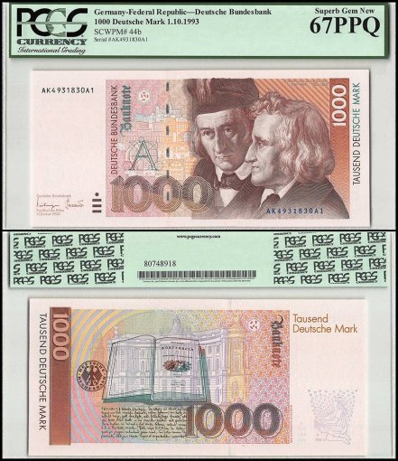 Germany 1,000 Deutsche Mark, 1993, P-44b, Serial #, PCGS 67