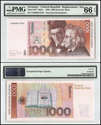 Germany 1,000 Deutsche Mark, 1993, P-44b, Star/Replacement, Serial Number #, PMG 66