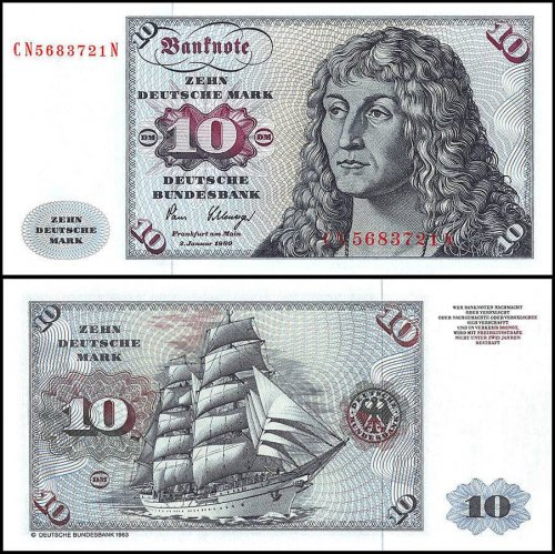 Germany 10 Deutsche Mark Banknote, 1980, P-31d, UNC