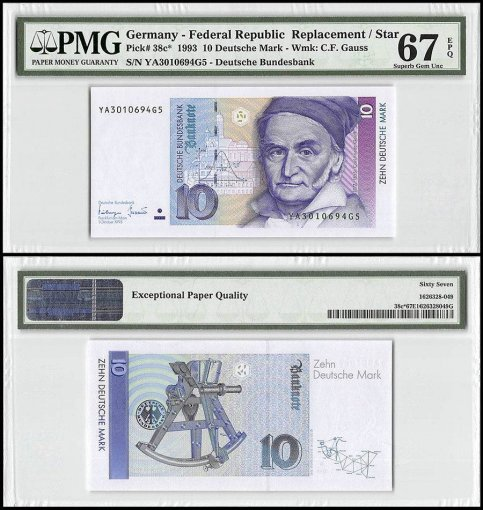Germany 10 Deutsche Mark, 1993, P-38c, Replacement/Star, PMG 67