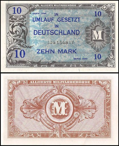 Germany 10 Mark Banknote, 1944, P-194b, UNC