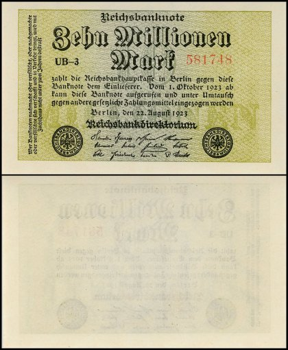 Germany 10 Million Mark Banknote, 1923, P-106a, UNC