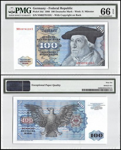 Germany 100 Deutsche Mark, 1980, P-34d, PMG 66