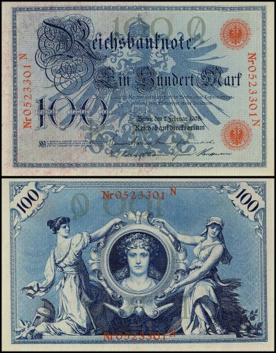 Germany 100 Mark Banknote, 1908, P-33a, UNC, Red Seal