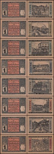 Germany 2 Mark Notgeld 8 Piece Set, 1922, UNC
