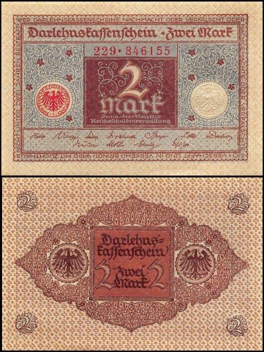 Germany 2 Mark Banknote, 1920, P-60, UNC