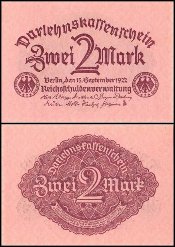 Germany 2 Mark Banknote, 1922, P-62, UNC