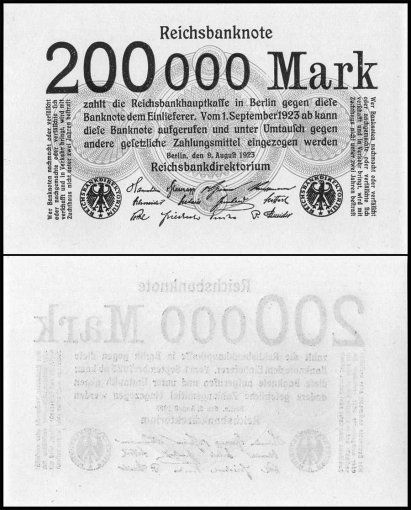 Germany 200,000 Mark Banknote, 1923, P-100, UNC