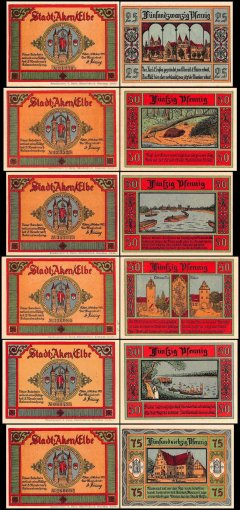 Germany 25 - 75 Pfennig Notgeld 6 Piece Set, 1921, UNC