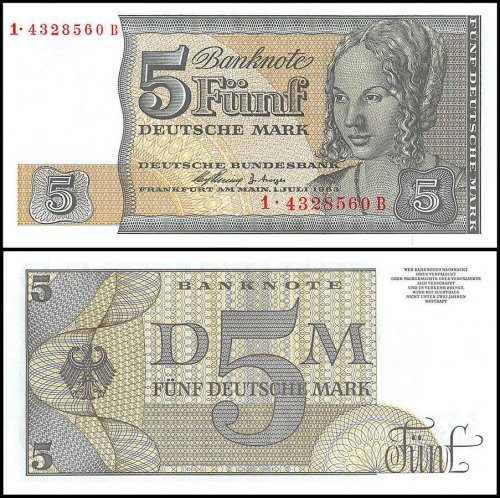 Germany 5 Deutsche Mark Banknote, 1963, P-29A, UNC, Reserved Note West Berlin