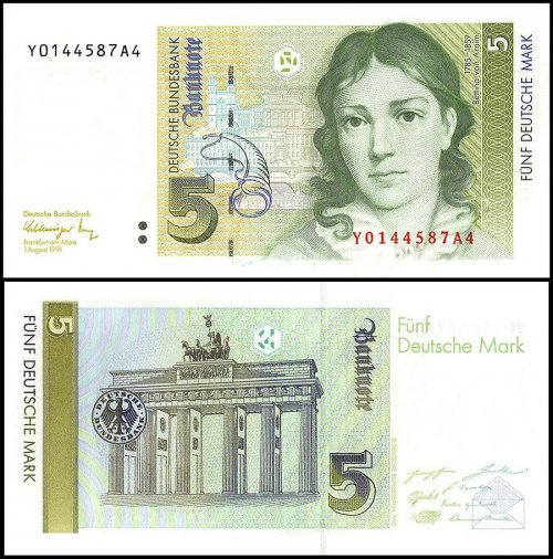 Germany 5 Deutsche Mark Banknote, 1991, P-37, UNC, Replacement