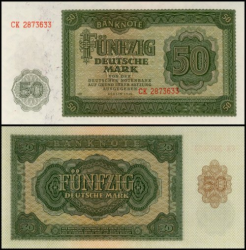 Germany 50 Deutshe Mark Banknote, 1948, P-14b, UNC