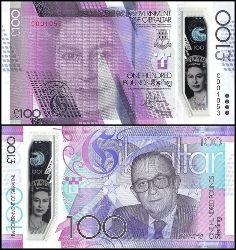 Gibraltar 100 Pounds Banknote, 2015-2016, P-New, UNC, Queen Elizabeth II, Polymer