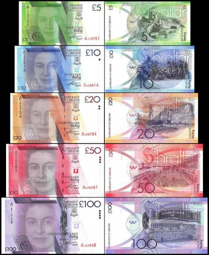 Gibraltar 5 - 100 Pounds 5 Piece Full Set, P-35-39, 2010-2011, UNC, Queen Elizabeth II