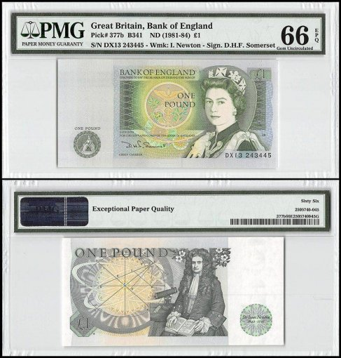 Great Britain 1 Pound, ND 1981-84, P-377b, Queen Elizabeth II, PMG 66