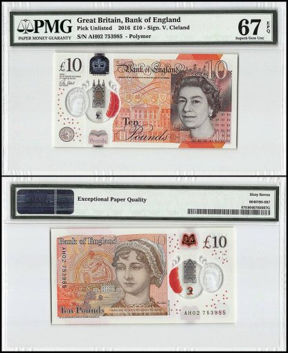 Great Britain 10 Pounds, 2016, P-395, Polymer, Queen Elizabeth II, PMG 67