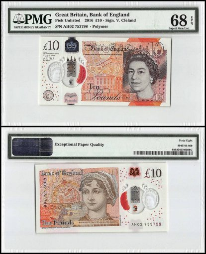 Great Britain 10 Pounds, 2016, P-395, Polymer, Queen Elizabeth II, PMG 68