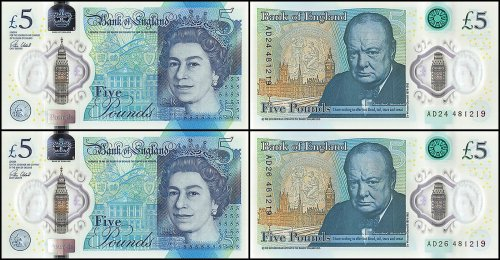 Great Britain 5 Pounds 2 Piece Set, 2015, P-394, UNC, Matching Serial #